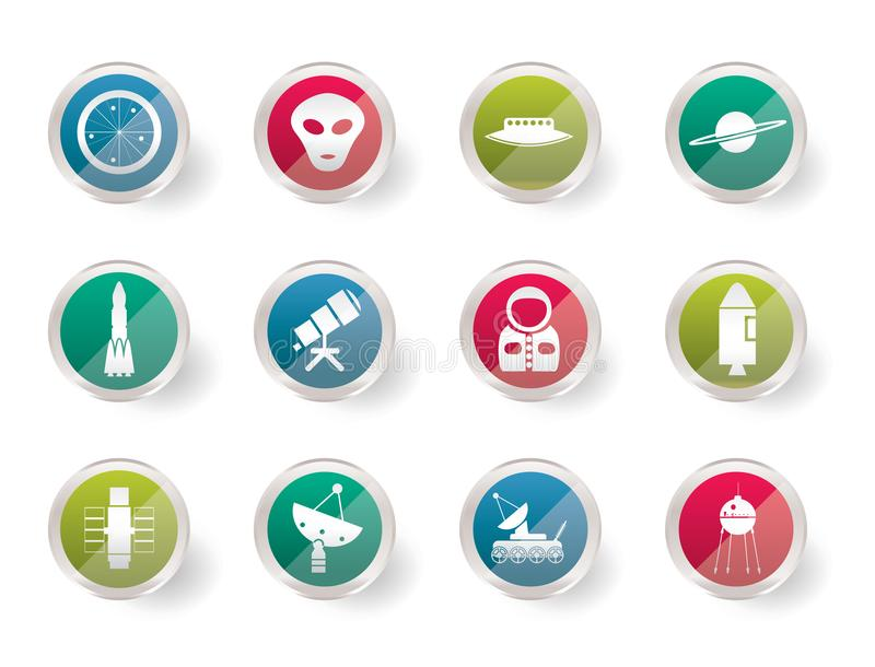 Iconos de la astronáutica y del espacio sobre fondo coloreado stock de ilustración