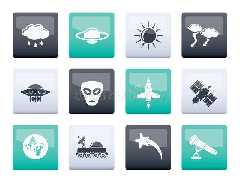 Iconos de la astronáutica y del espacio y del universo sobre fondo del color stock de ilustración