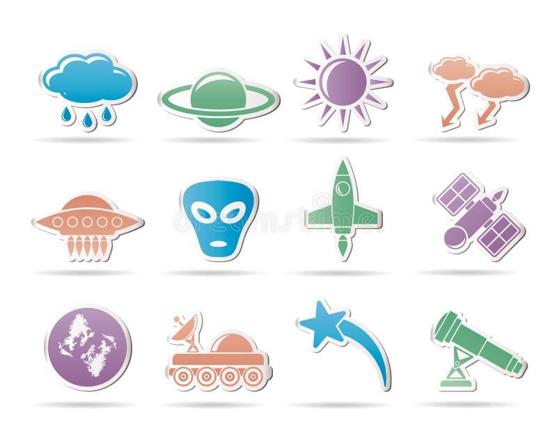 Iconos de la astronáutica y del espacio y del univerce ilustración del vector