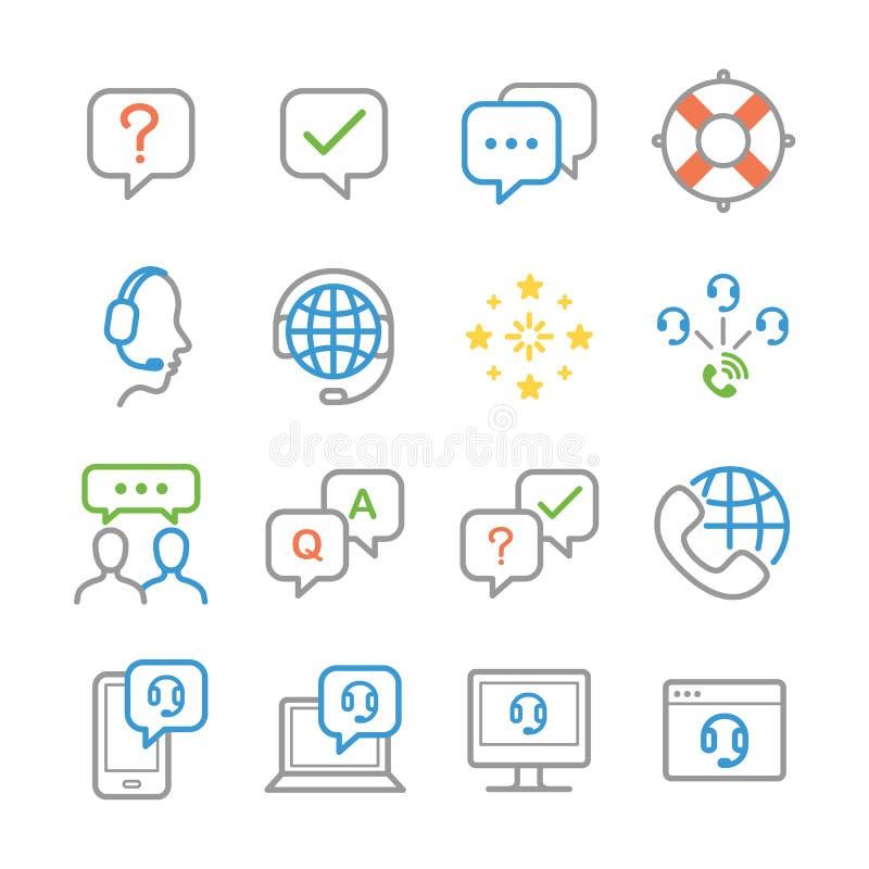 Iconos de la atención al cliente ilustración del vector