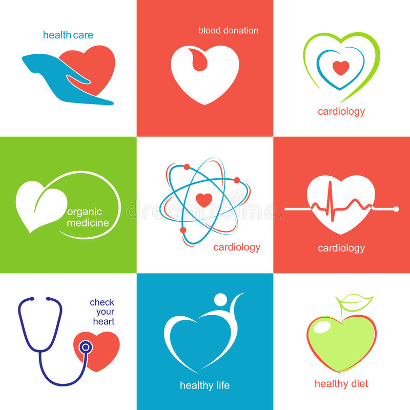 Iconos de la atención sanitaria del corazón stock de ilustración