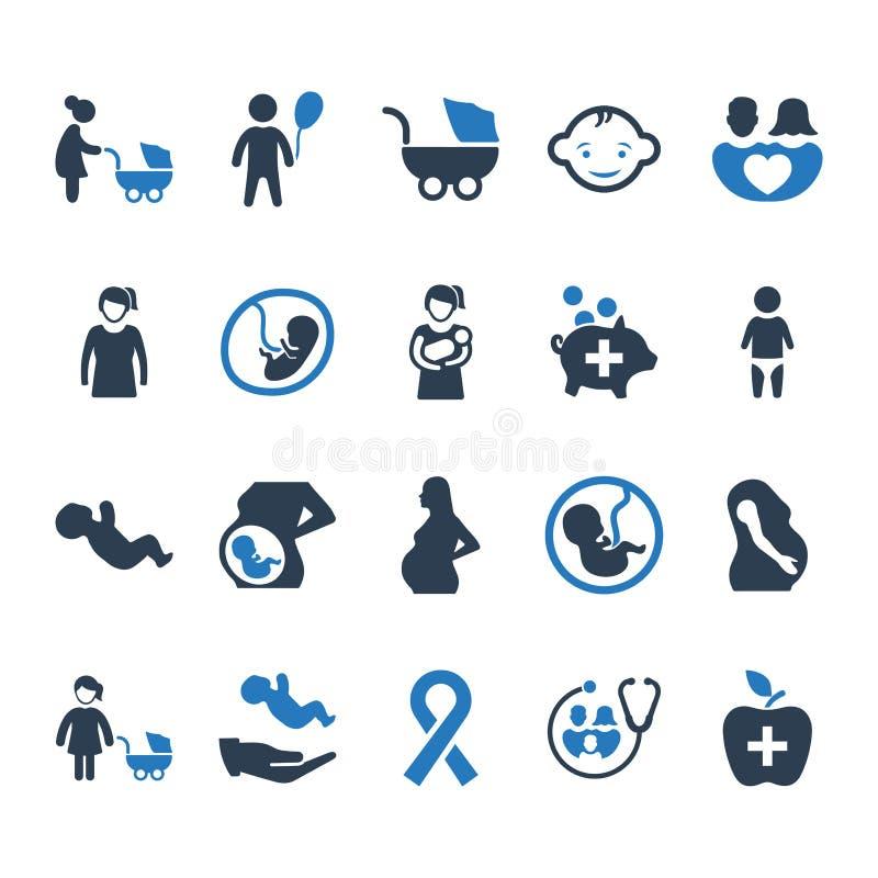 Iconos de la atención sanitaria de la madre - versión azul stock de ilustración