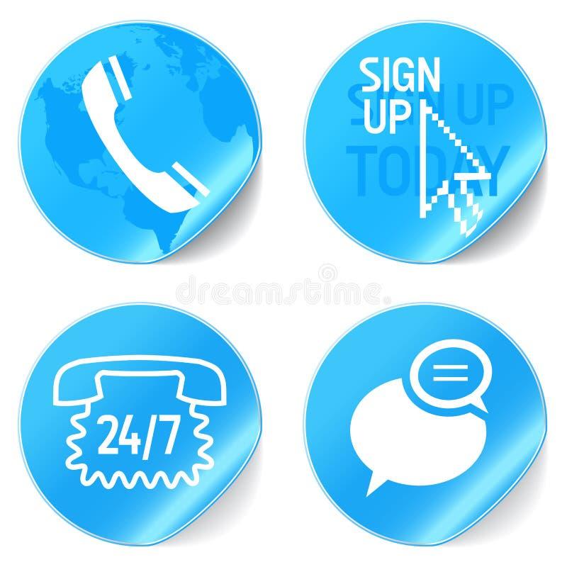 Iconos de la ayuda stock de ilustración