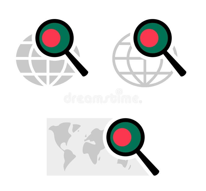 Iconos de la búsqueda con la bandera de Bangladesh libre illustration