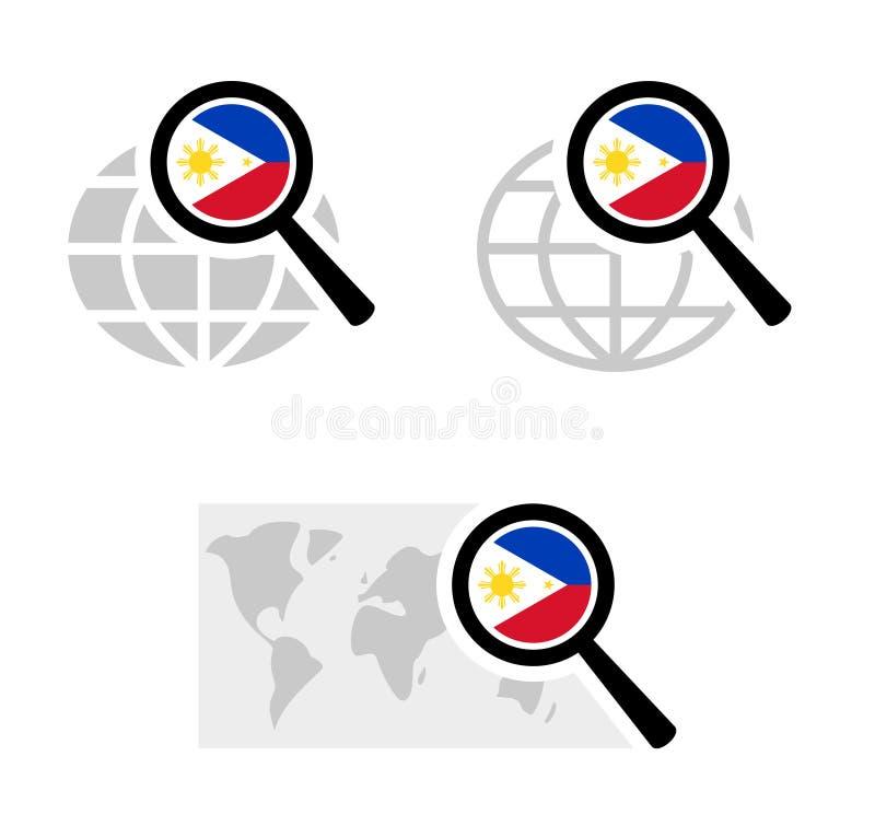 Iconos de la búsqueda con la bandera de Filipinas ilustración del vector