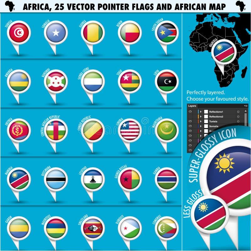Iconos de la bandera del indicador de África con el mapa africano set2 imagenes de archivo