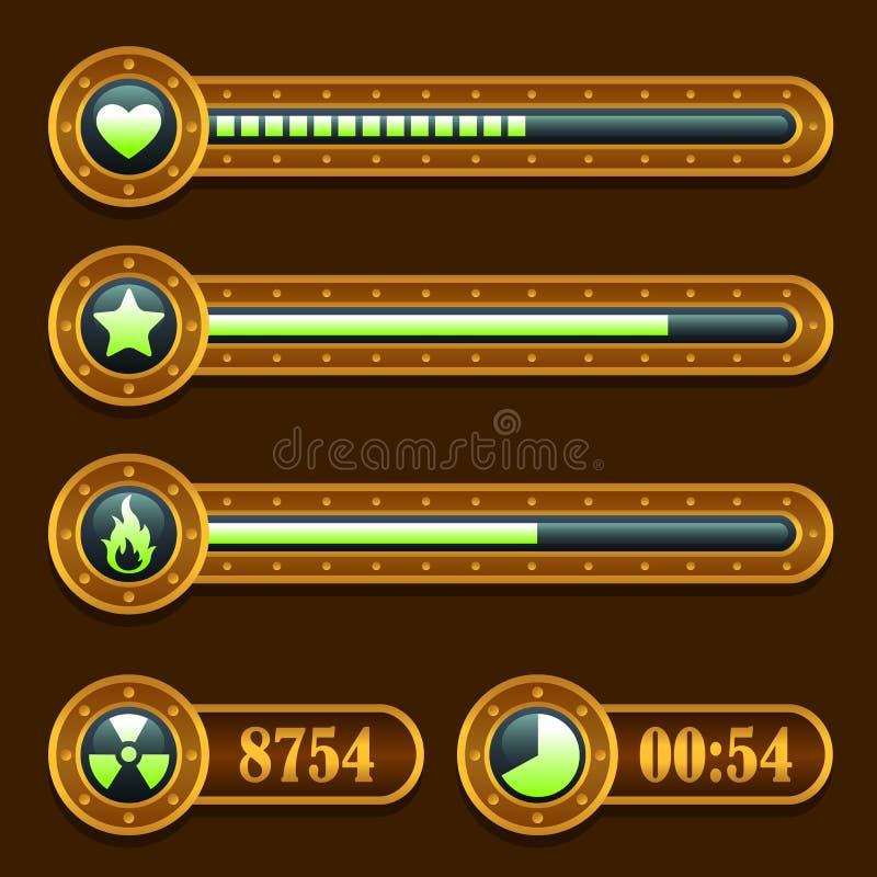 Iconos de la barra de progreso del tiempo de la energía del steampunk del juego fijados libre illustration