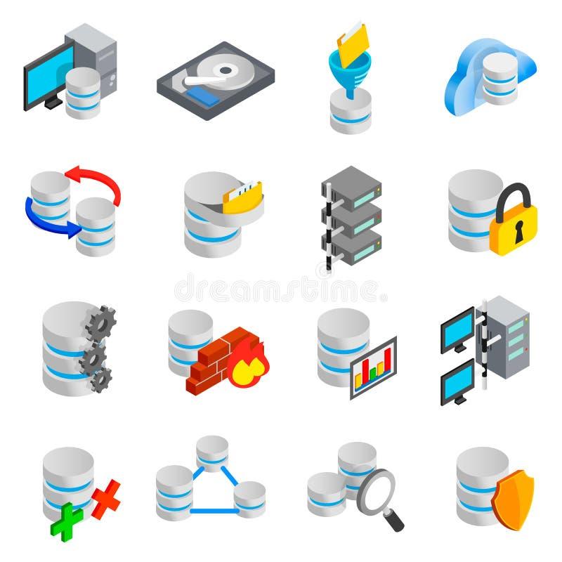 Iconos de la base de datos fijados ilustración del vector