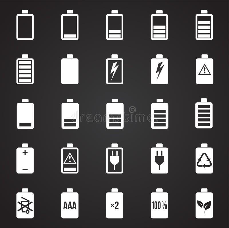 Iconos de la batería fijados en el fondo negro para el gráfico y el diseño web, muestra simple moderna del vector Concepto del In ilustración del vector