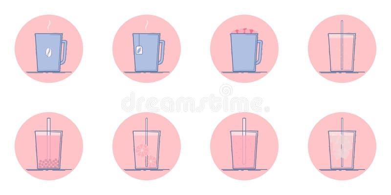 Iconos de la bebida ilustración del vector