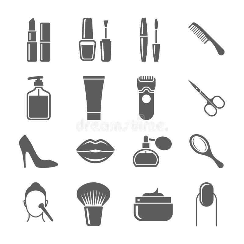 Iconos de la belleza y del maquillaje stock de ilustración
