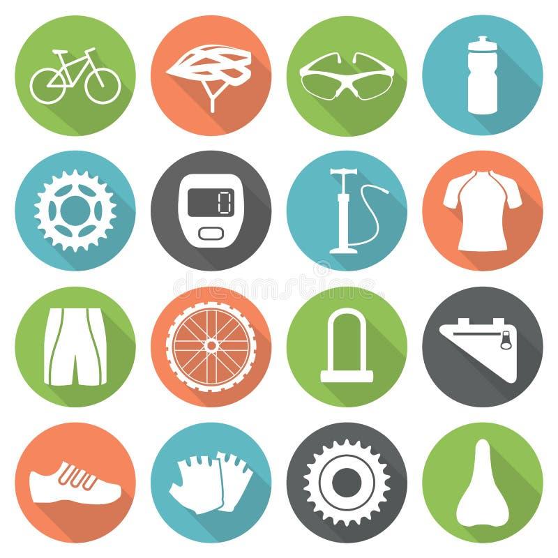 Iconos de la bicicleta stock de ilustración