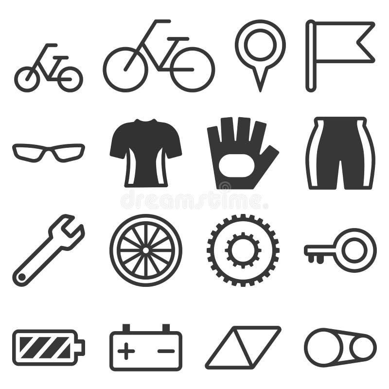 Iconos de la bicicleta fijados libre illustration