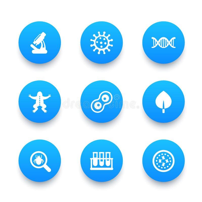 Iconos de la biología fijados ilustración del vector