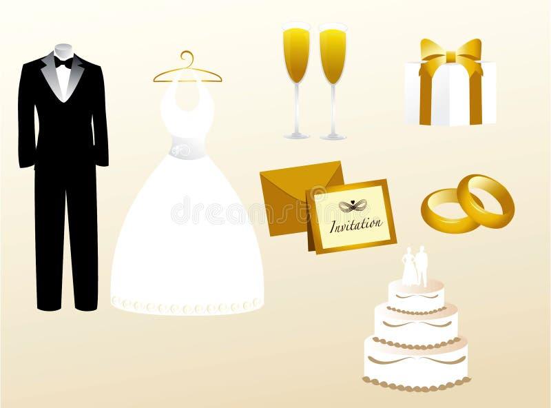 Iconos de la boda stock de ilustración