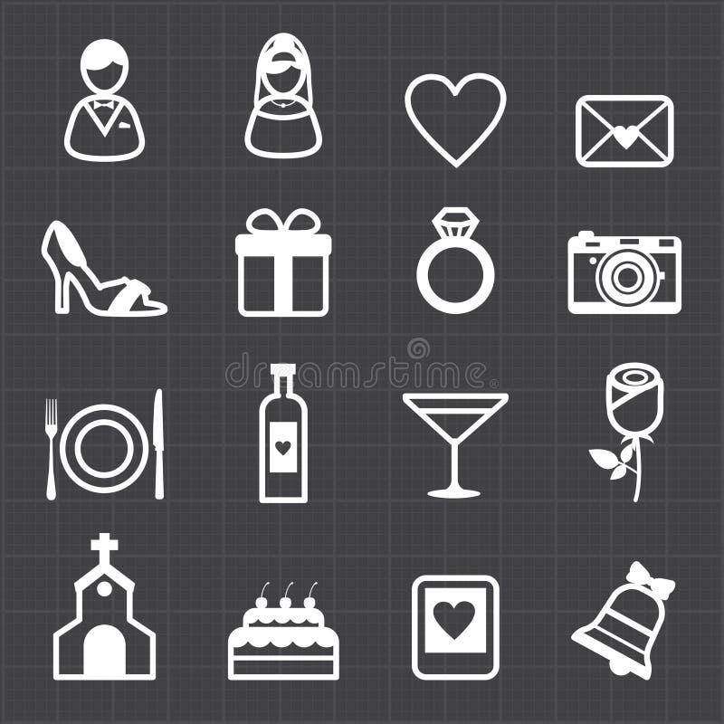 Iconos de la boda y fondo negro stock de ilustración