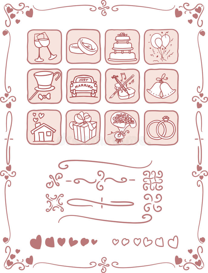 Iconos de la boda y sistema del marco ilustración del vector