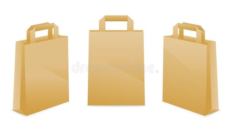 Iconos de la bolsa de papel de Brown ilustración del vector