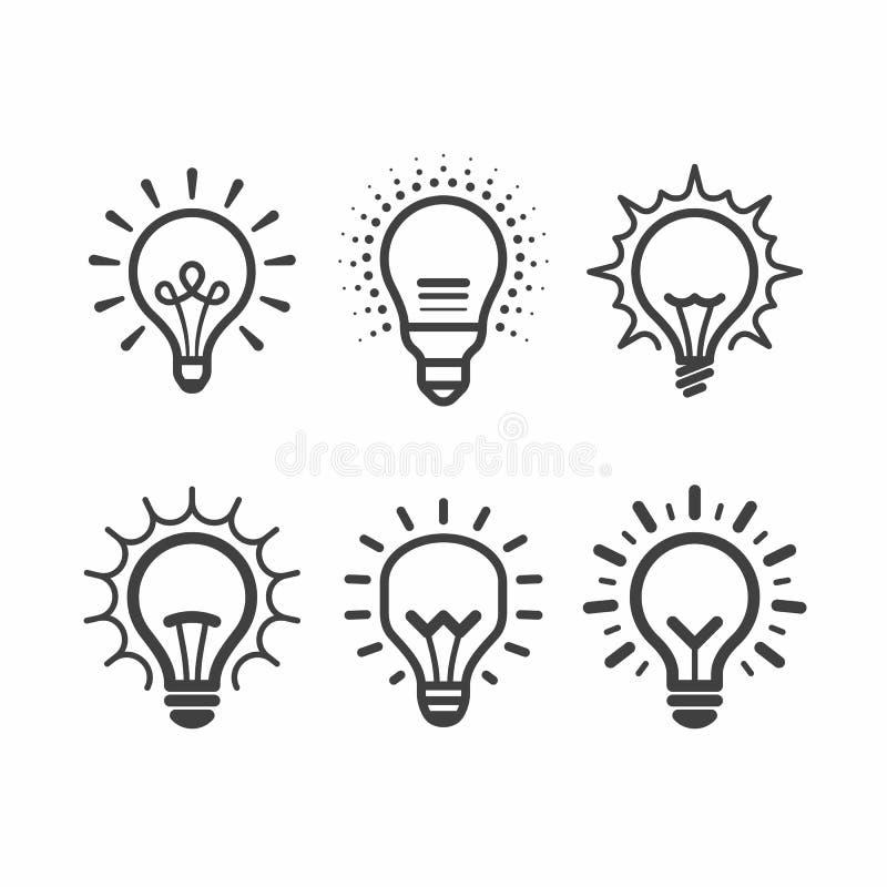 Iconos de la bombilla del Lit fijados ilustración del vector