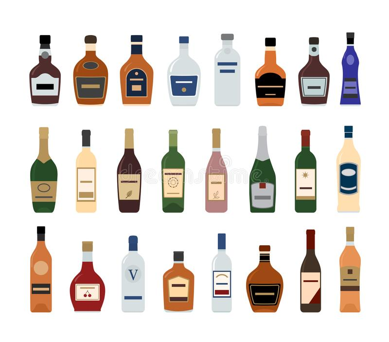 Iconos de la botella del alcohol en el fondo blanco stock de ilustración