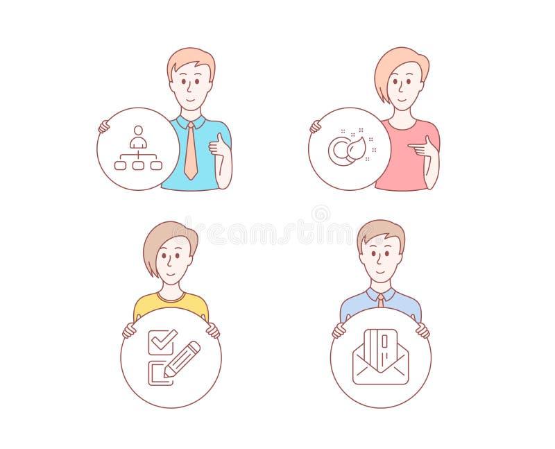 Iconos de la brocha, del Checkbox y de la gestión Muestra de la tarjeta de crédito Creatividad, opción de la encuesta, agente cor ilustración del vector