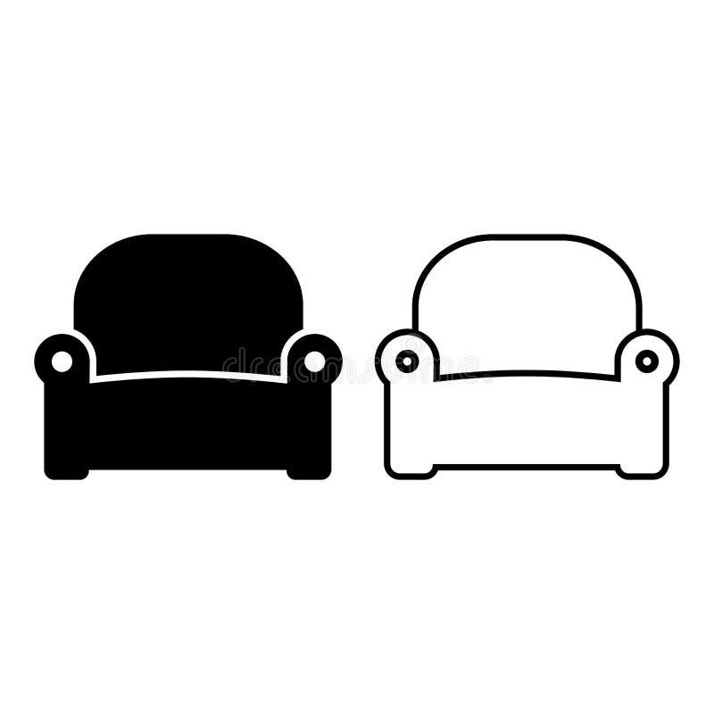Iconos de la butaca, plano y diseño del esquema Ilustraci?n del vector stock de ilustración