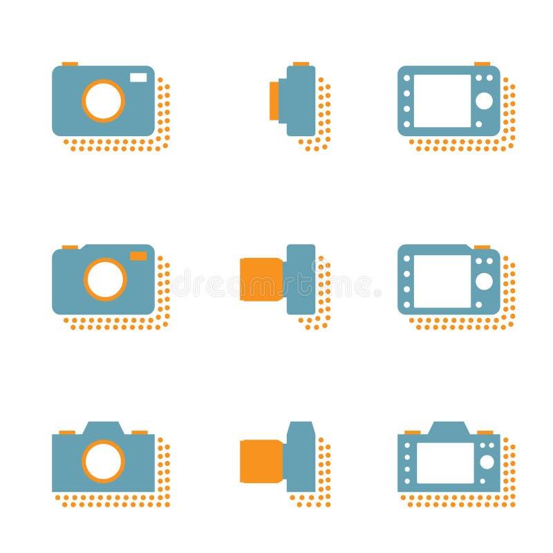 Iconos de la cámara con la sombra del punto, mirrorless y compacto ilustración del vector