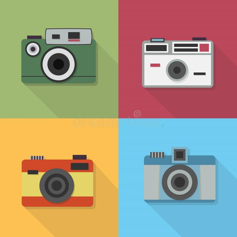 Iconos de la cámara de la foto del vintage fijados libre illustration