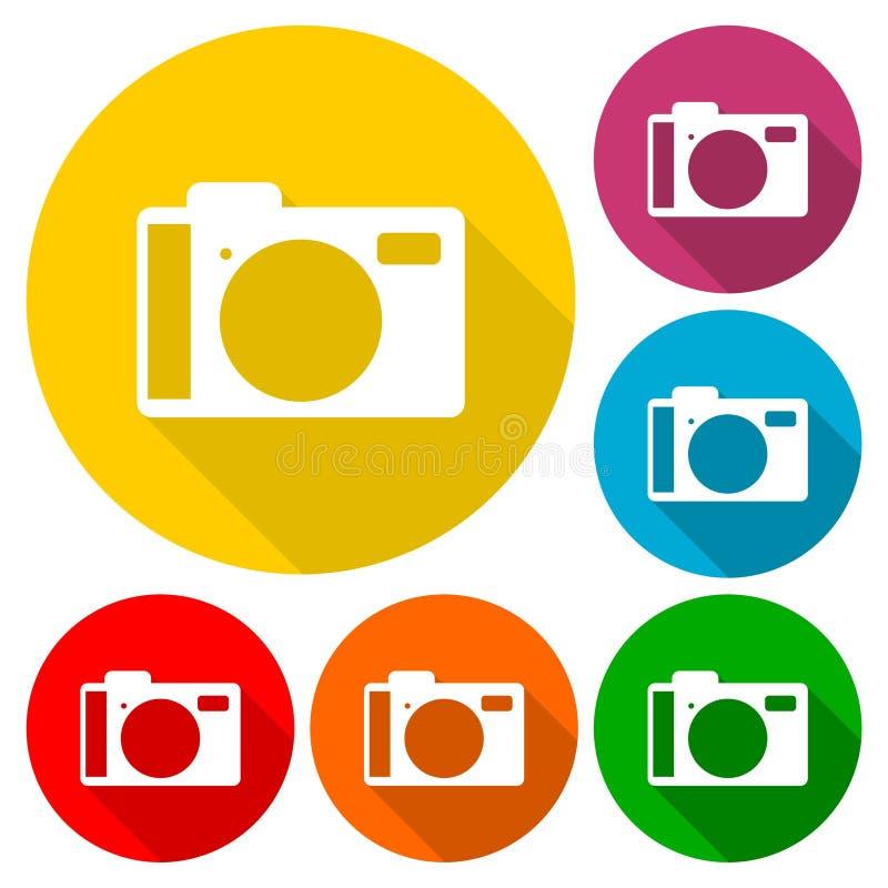 Iconos de la cámara fijados con la sombra larga ilustración del vector