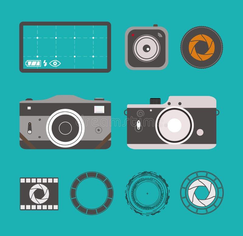 Iconos de la cámara de la foto fijados en estilo plano La cámara y los lins retros gráficos aislados diseñan el ejemplo del vecto fotografía de archivo libre de regalías