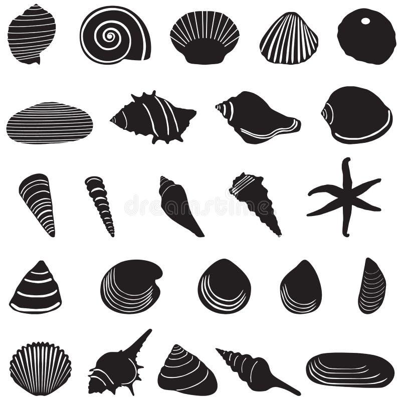 Iconos de la cáscara del mar fijados ilustración del vector