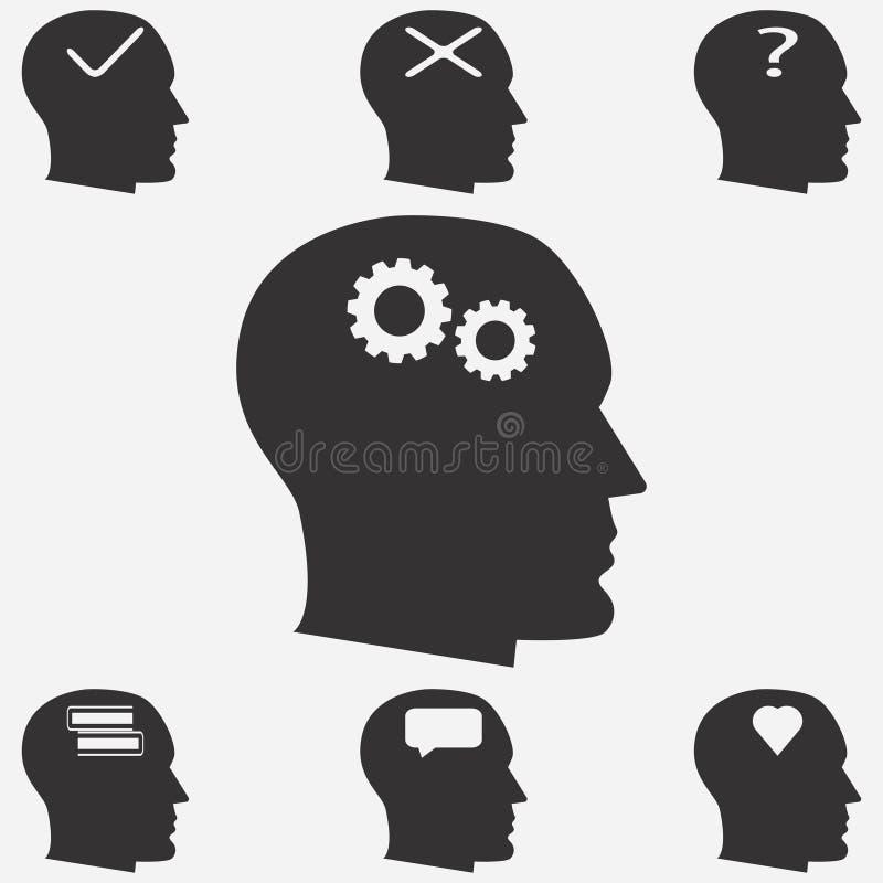 Iconos de la cabeza humana Pensamiento de la persona Ilustración del vector libre illustration