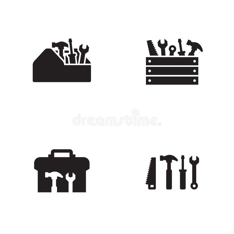 Iconos de la caja de herramientas fijados ilustración del vector