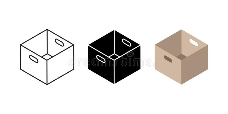 Iconos de la caja del cartón Símbolos negros y lineares planos de la caja de cartón y del servicio de entrega, paquetes del poste stock de ilustración