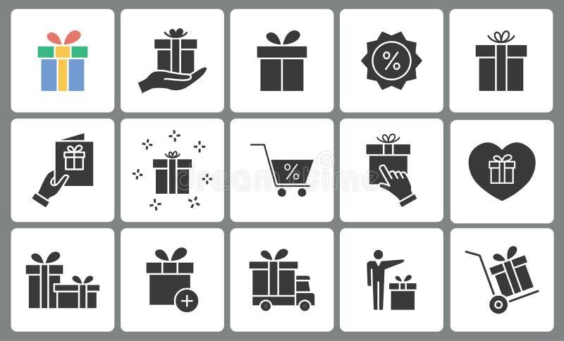 Iconos de la caja de regalo fijados Ejemplo negro del vector ilustración del vector