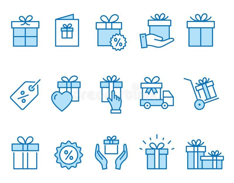 Iconos de la caja de regalo fijados Ejemplo negro del vector Movimiento Editable libre illustration