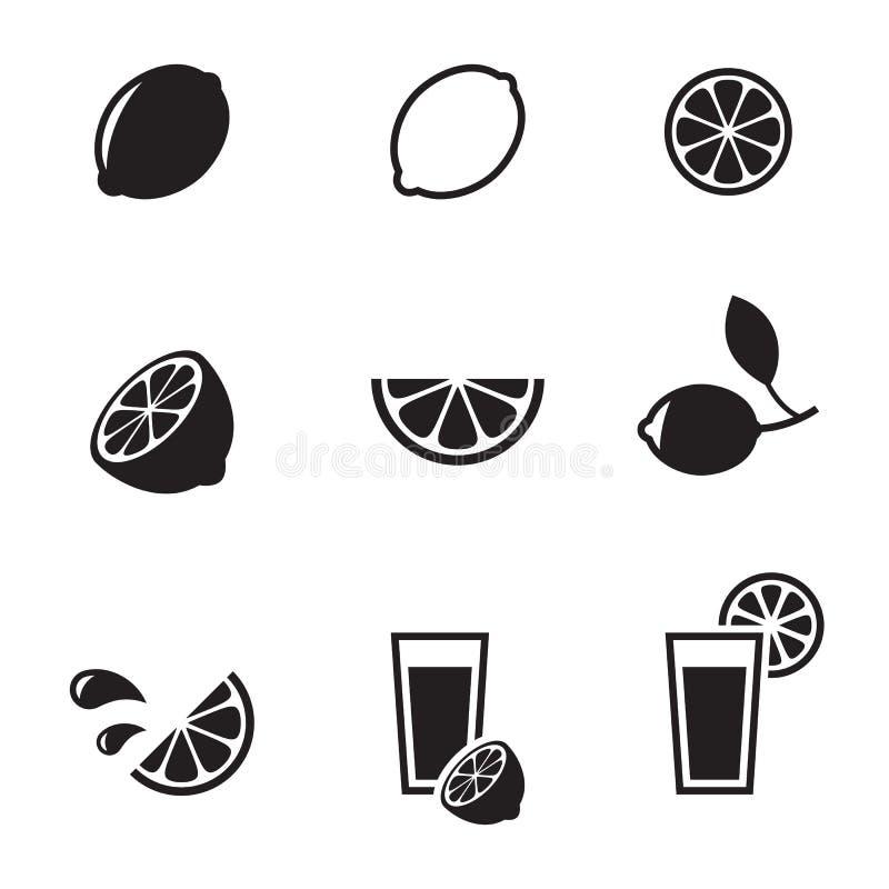 Iconos de la cal del limón stock de ilustración
