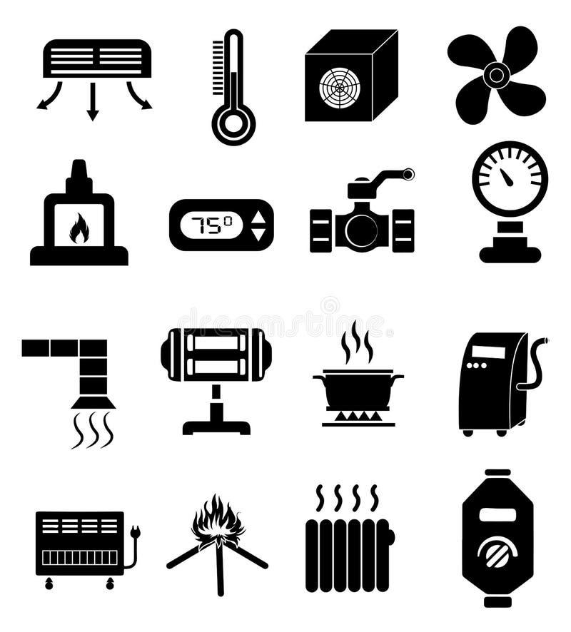 Iconos de la calefacción fijados ilustración del vector