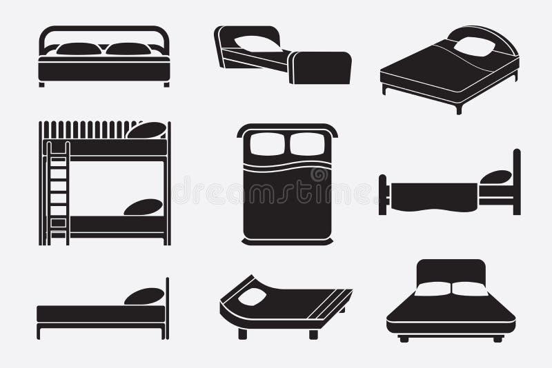 Iconos de la cama fijados stock de ilustración