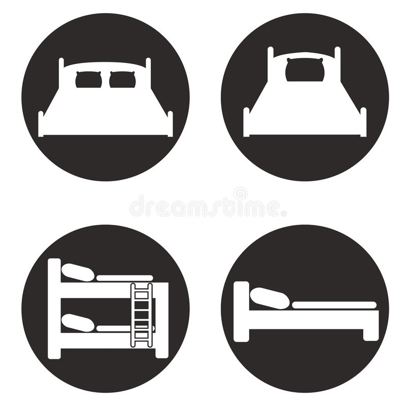 Iconos de la cama fijados para los paradores y los hoteles ilustración del vector