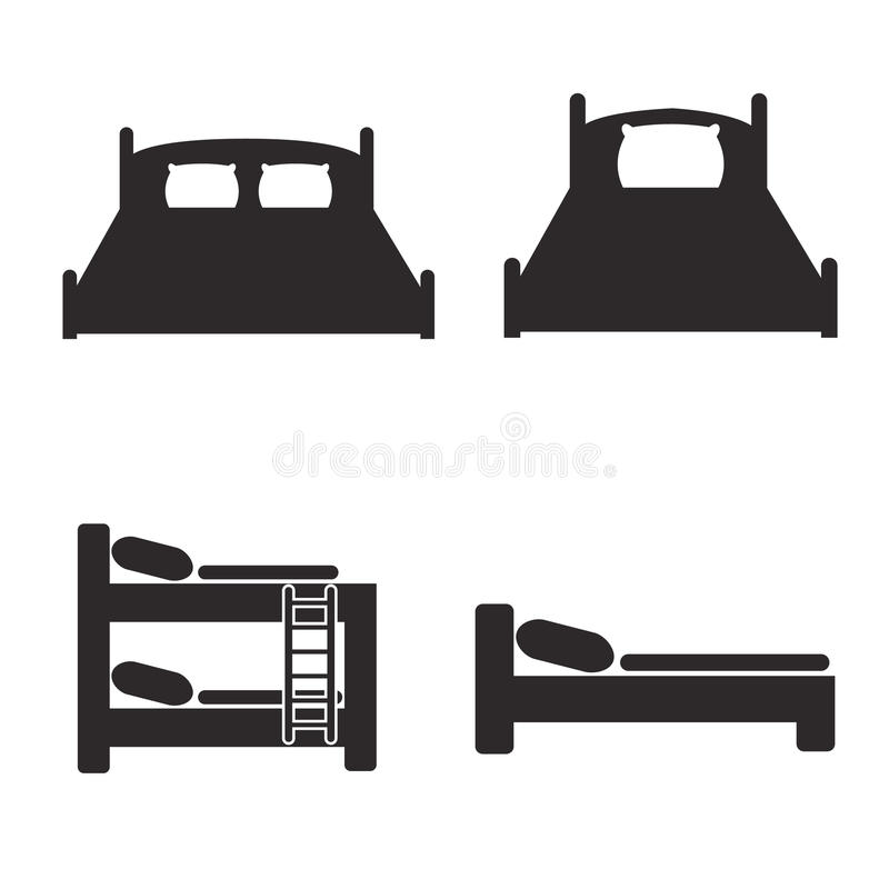 Iconos de la cama fijados para los paradores y los hoteles libre illustration