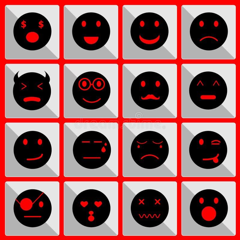 Iconos de la cara de la sensación en el botón libre illustration
