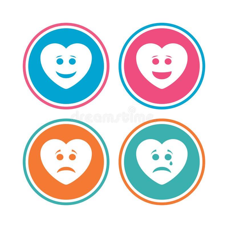 Iconos de la cara de la sonrisa del corazón Feliz, triste, grito stock de ilustración