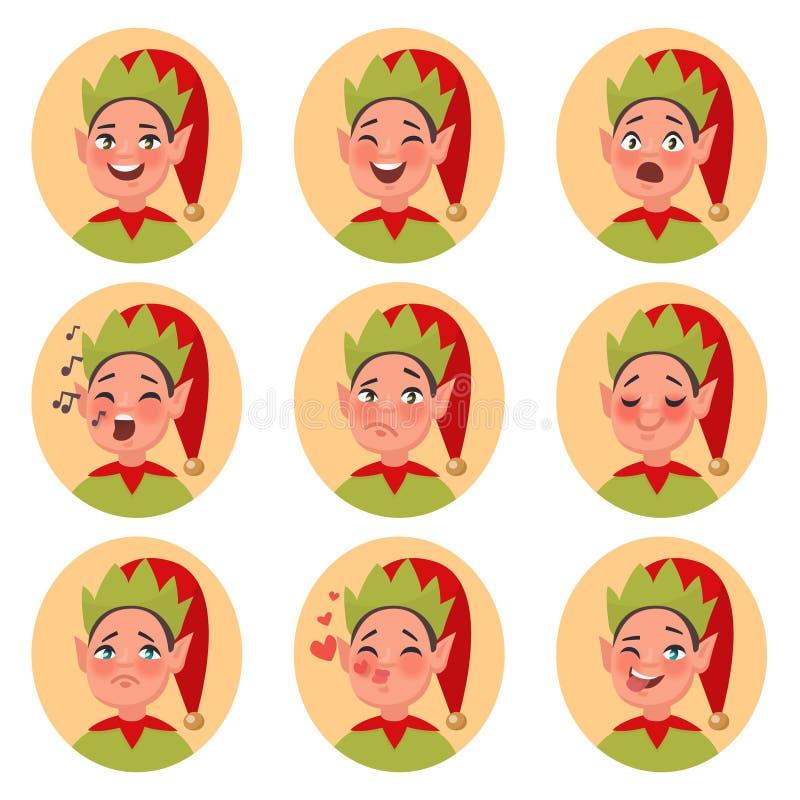 Iconos de la cara del emoji del duende de la Navidad Sistema de diverso charac de las emociones ilustración del vector