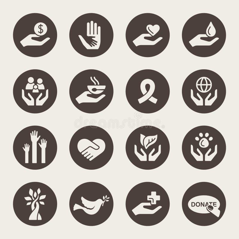 Iconos de la caridad stock de ilustración