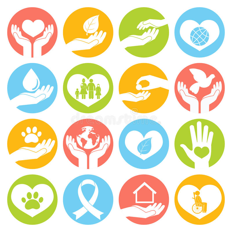 Iconos de la caridad y de la donación blancos ilustración del vector