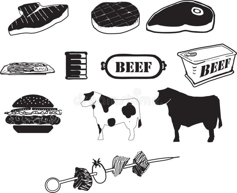 Iconos de la carne de vaca B/W ilustración del vector
