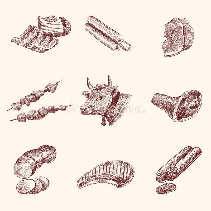 Iconos de la carne del bosquejo ilustración del vector
