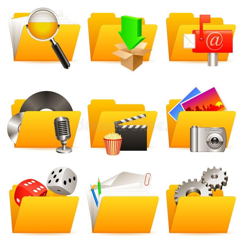 Iconos de la carpeta. ilustración del vector