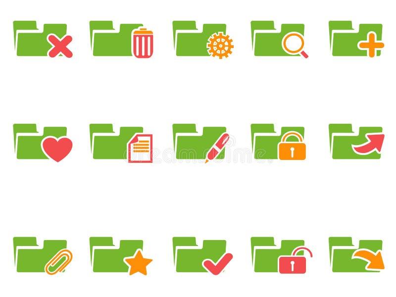 Iconos de la carpeta de archivos del color fijados ilustración del vector